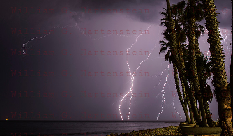 Lightning off the coast of Ventura, CA. 09-011-2017