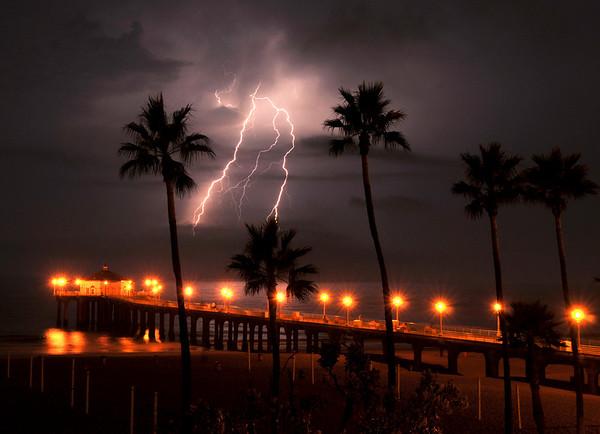 """""""Three Palm Strike"""". Electrical storm, Manhattan Beach Pier, Manhattan Beach, CA"""