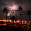 """Three Palm Strike"". Electrical storm, Manhattan Beach Pier, Manhattan Beach, CA"