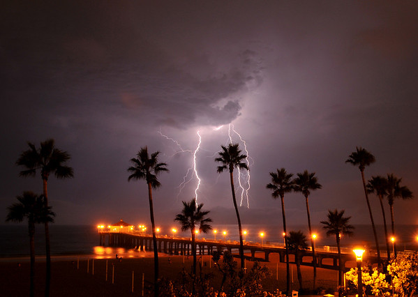 """Cloud Strike"". Electrical storm, Manhattan Beach Pier, Manhattan Beach, CA"