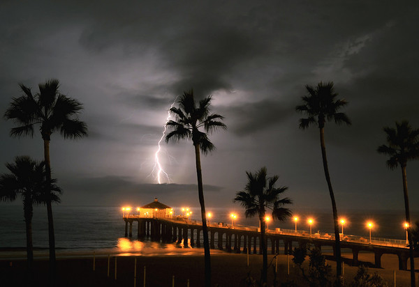 """Center Strike"".  Electrical storm, Manhattan Beach Pier, Manhattan Beach, CA"