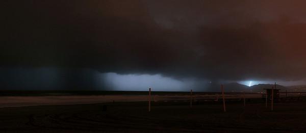 """Black Rain"".  Heavy rain and lightning in the distance.  Image taken from Manhattan Beach, CA. 1/21/10."