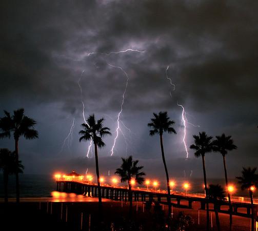 """Triple Strike"". Manhattan Beach Lightning Storm.  8/15/08"