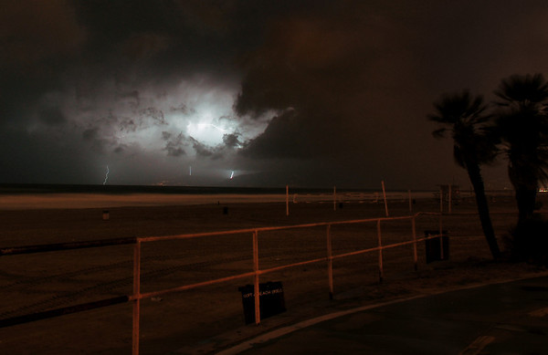 """3 Strikes Over Malibu"".  Lightning and thunderstorm 1/21/10.  Image taken from Manhattan Beach, CA."
