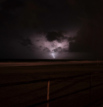 """Santa Monica Lightning"". Image captured 1/21/10 during a cold and wet thunderstorm that hit the West Coast.  Manhattan Beach, Ca."