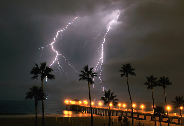 """Double Strike"". Electrical storm, Manhattan Beach Pier, Manhattan Beach, CA."