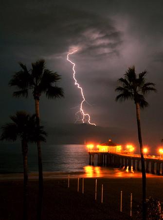 """Lightning Fork"".  Manhattan Beach Lightning Storm.  8/15/08"