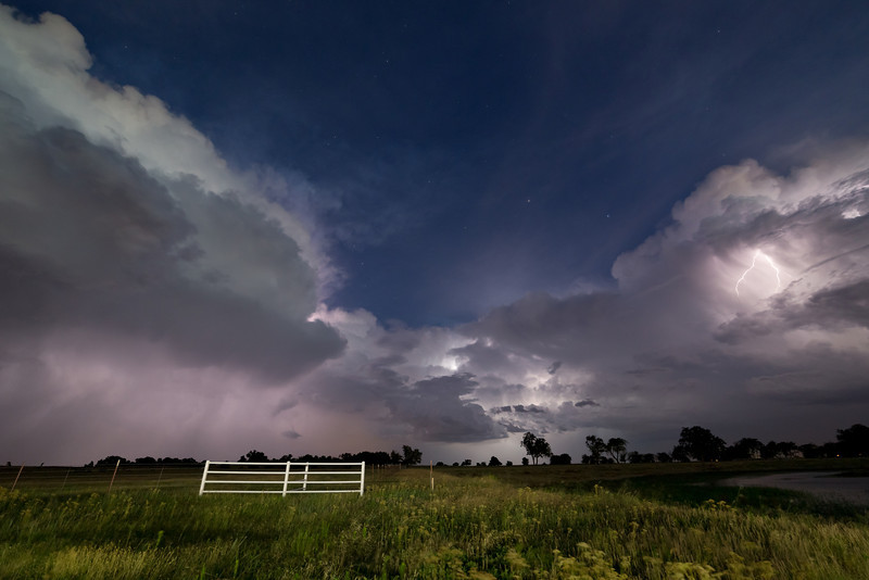 Summertime thunderstorms light up the sky after dark near Lexington, OK, on July 11, 2013.