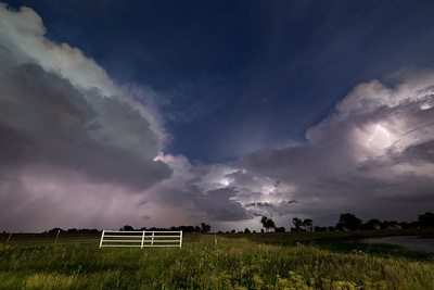 Summertime thunderstorms light up the sky after dark near Lexington, OK, on July 11, 2013.