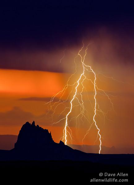 Shiprock in last night's thunderstorm