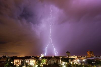A weak thunderstorm around midnight on September 18, 2011, puts on one of the most spectacular lightning shows Norman, OK, has seen in years. Shot from the top of the University of Oklahoma stadium parking garage.