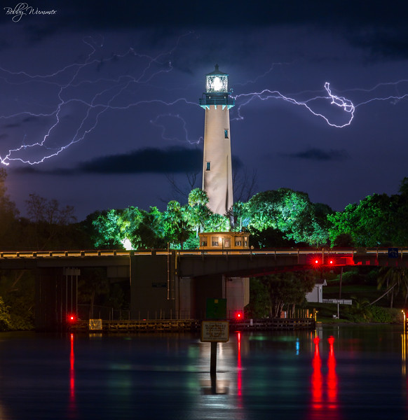 Jupiter Lighthouse With Lightning