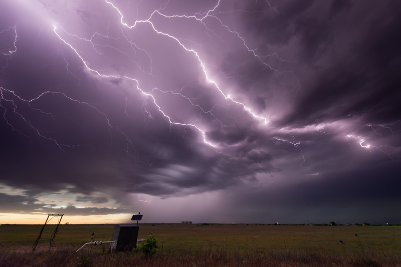 Cloud-to-cloud lightning streaks across the sky at dusk near Hammon, OK, on May 13, 2020.