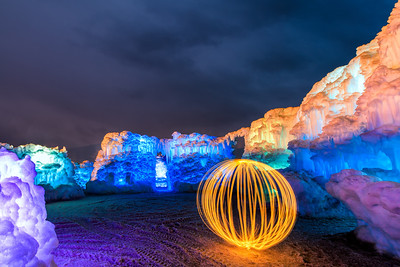 Midway Ice Castles and an orb