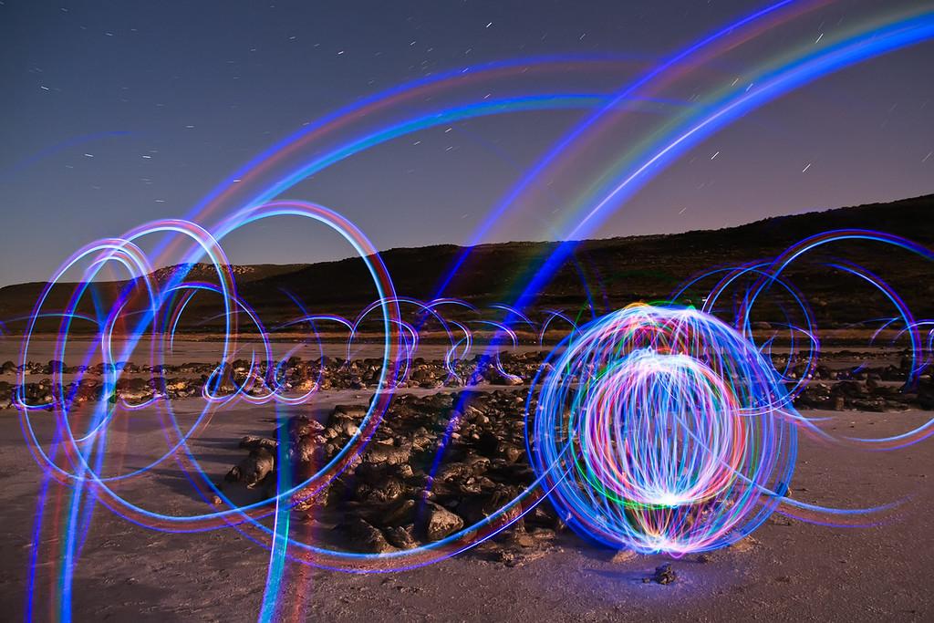 Spiral jetty lights @ Great Salt Lake, Utah
