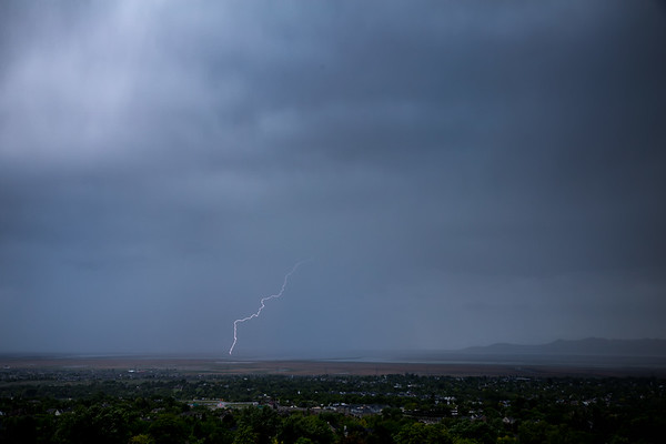 Lightning over the Great salt lake