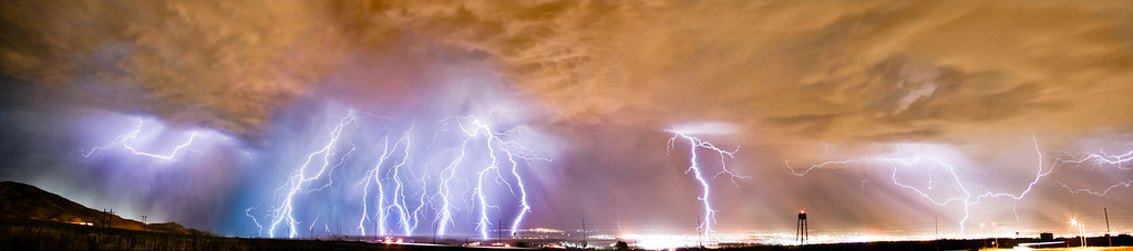 10 shot panorama ; Lightning Storm @ Salt Lake City, Utah
