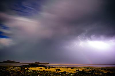 moon bow and lightning @ Great Salt Lake, Utah