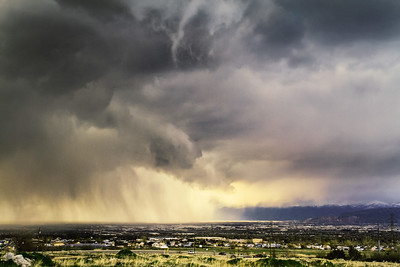 Storm moving across the salt lake valley.
