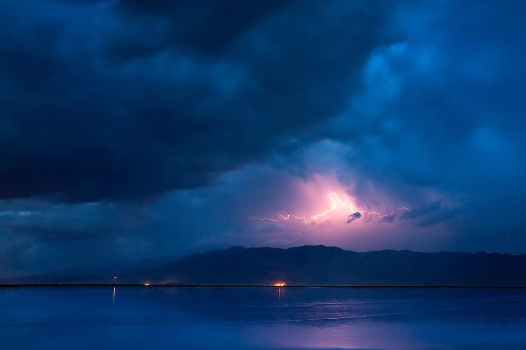 Blue hour lightning