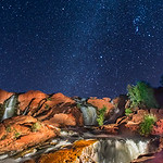 The Lightpainted Falls Under the Stars