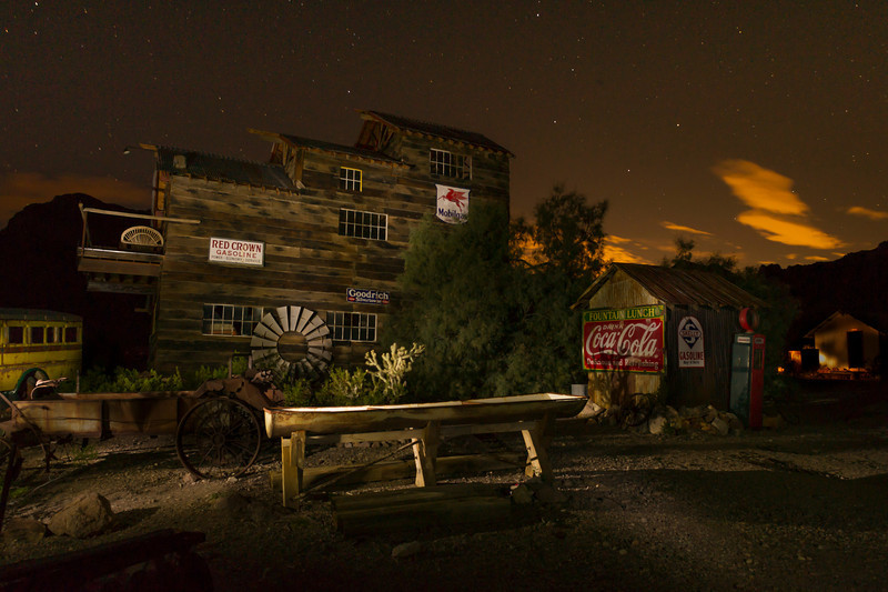 Nelson Gold Mine Lightpainted<br /> The sky is lit up by the lights of Las Vegas.