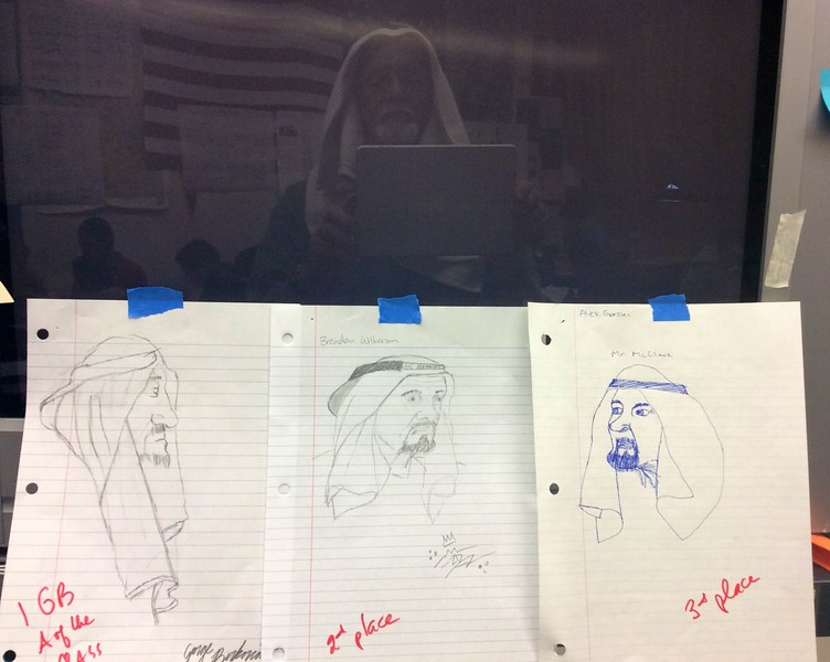 Mr.  McClave tried to introduce a range of classroom activities as content. He would sometimes have the students sketch a model in the front of the room. One day Mr. McClave donned an Arabian headdress and had the students draw him. These were the top three drawings with a reflection on the TV screen. No, this is NOT Mr. McClave as a famous Arab religious leader.
