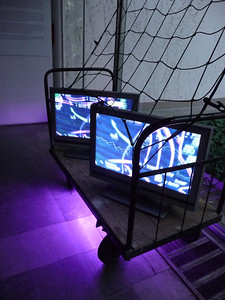 Rurality - 2014 - Light installation - tv monitor - video - netting - trolley  - led