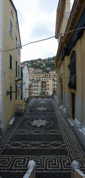 Camogli, artwork at the entrance to the church<br /> <br /> <br /> Camogli, il sagrato decorato alla maniera tradizionale.
