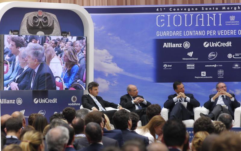 Da sinistra Antonio Lembo, CEO di Terashop S.p.a., Nicola Rossi, presidente dell'Istituto Bruno Leoni, Giuseppe Recchi presidente di Eni, Federico Ghizzoni ad di Unicredit.