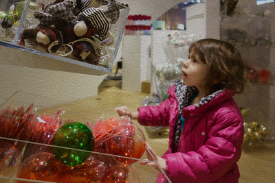 Lila shopping for ornaments - watercolor filter added.