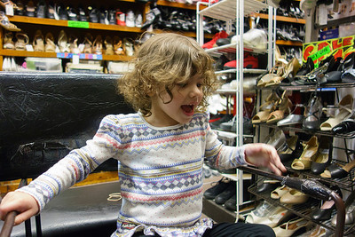 Lila shopping for her 1st pair of ballet slippers.