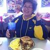 Shirley eating breakfast
