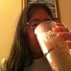 Jane drinking her iced tea