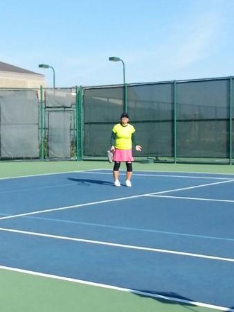 Jane on tennis court