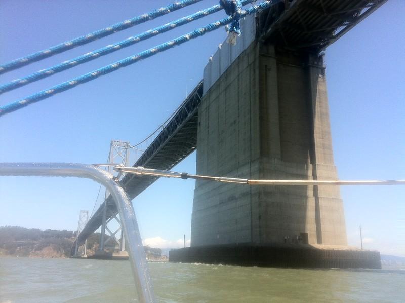 Suzy sailing under bay bridge