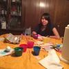 Lisa coloring Easter eggs