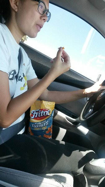 Cindy eating Fritos 20150705