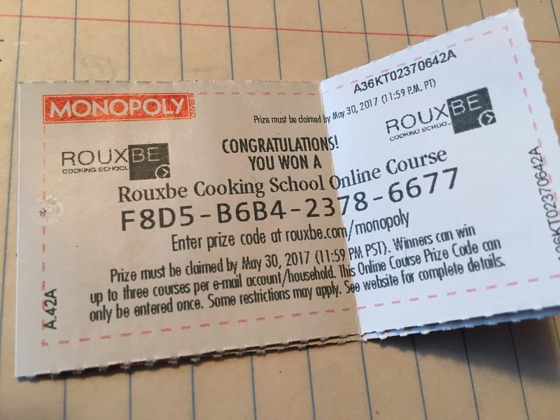 Monopoly wiining cooking ticket