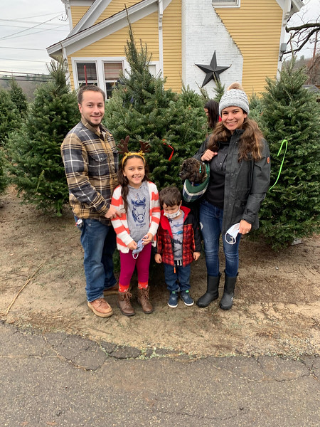The Rancourt family of Dracut shop for a tree.