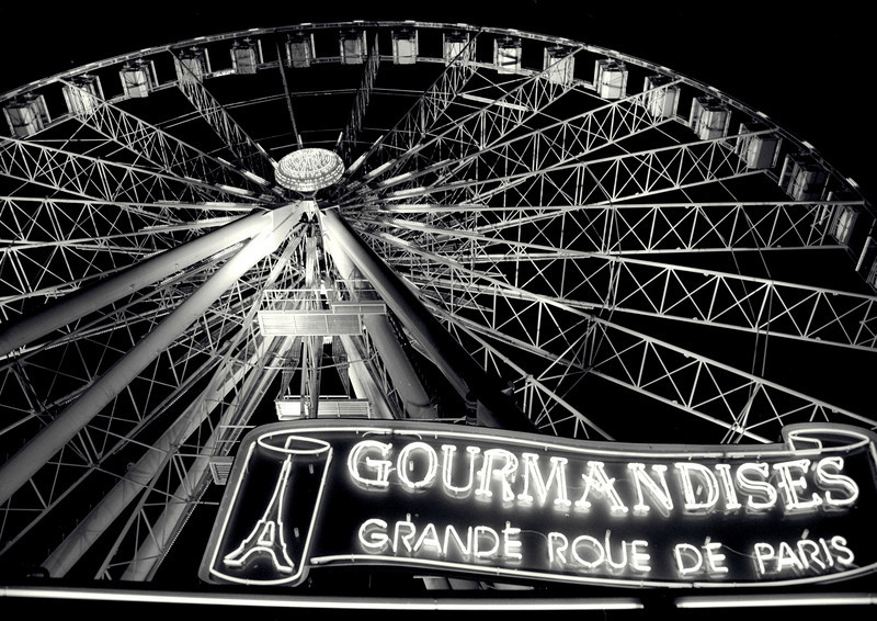 """Gourmandises Ferris Wheel""<br /> At the foot of Champs Elysees leading up to Y2k<br /> Print Size: 23h x 35w"