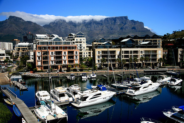 "Table Mountain and Victoria and Albert Waterfront<br /> Cape Town, South Africa<br /> 36"" x 28"""
