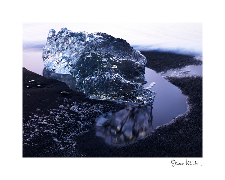 "Title: 	Diamond at Night<br /> Location:	Iceland<br /> Size (Framed):	9""x11""<br /> Price:	$90<br /> Description:	I am smooth, translucent, and I take all the light I can. After dark, I will disappear."