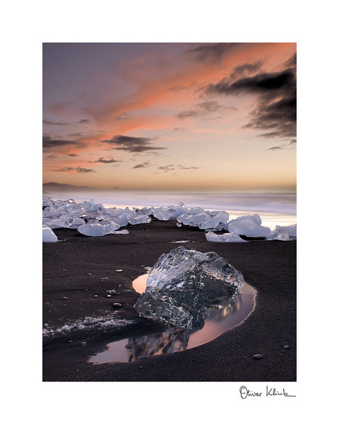 "Title: 	Diamond in the Morning<br /> Location:	Iceland<br /> Size (Framed):	11""x9""<br /> Price:	$90<br /> Description:	I shine early in the morning. Resting in the lava bed, I will last. For how long."