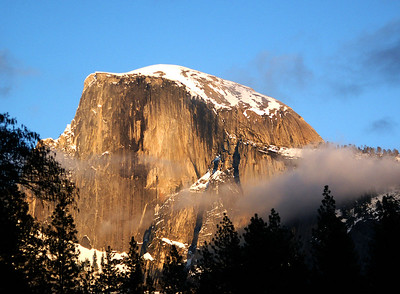 March 2005: Sunset on Half Dome from Sentinel Bridge.
