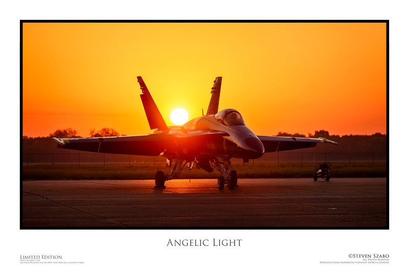 The sun rises behind a United States Navy F-18 Hornet.<br /> <br /> Taken in Shreveport, Louisiana at Barksdale Air Force Base.