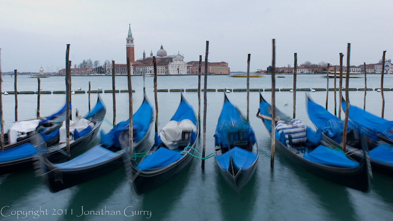 1197 - Gondolas with St. George Island in the background.  Venice, Itlay.