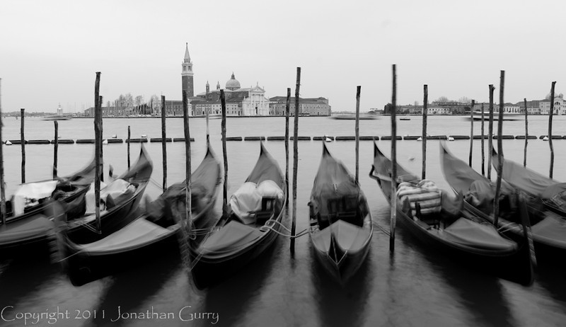 1196 - Gondolas with St. George Island in the background.  Venice, Itlay.