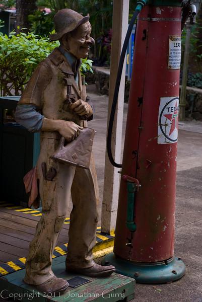 1241 - Statue of a gas attendant and old gas pump.  Hanapepe, Kauai, Hawaii.