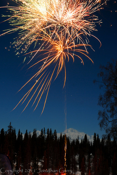1301 - New Years over Denali Mountain, Alaska.